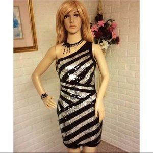 2b bebe Striped Sequin One Shoulder Dress (Medium)